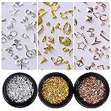 coulorbuttons 1caja oro rosa remaches uñas tacos mixto Estilo Arte Manicura 3d decoración