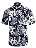 APTRO Hemd Herren Kurzarm Freizeit Hemd Blumenhemd Baumwolle Mehrfarbig Blumen Shirt Sommer 1027 Dunkelblau M