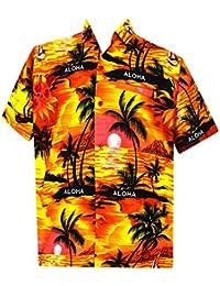 La Leela aloha coucher de soleil hawaïen bouton beachwear manches courtes vers le bas occasionnels shirt hommes xs orange - 5XL