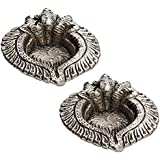 Triple Ganesh Face Diya Made In Pure Metal With Antique Finish (Set Of 2) For Diwali/New Year