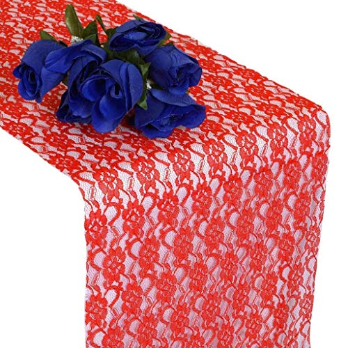 LXD Haushalt Hochzeit 12 X 108 Zoll Lace Tischläufer für Hochzeitsbankett Dekor Tisch Lace Runner-Red Pack von 12 -