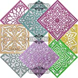 Yogic Origins Rangoli Stencils Set Big Size (8 Design Square Plastic 8 Inch Large Size) Mandala Rangoli Stencil for Floor Diwali Puja Laxmi Pooja Holi Colors Ganesh Ganpati Floor Decor Art Decoration