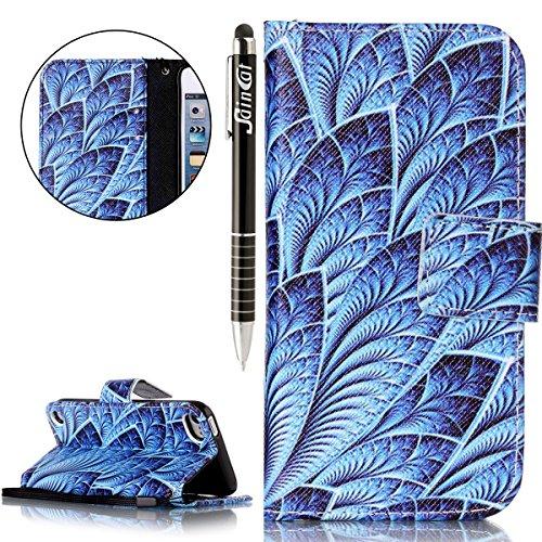Custodia iPod Touch 5/6,SainCat Custodia in pelle Protettiva Flip Cover per iPod touch 5/6,Anti-Scratch Protettiva Caso Elegante Creativa Dipinto Pattern Design PU Leather Flip Ultra Slim Sottile Morb blu brillante