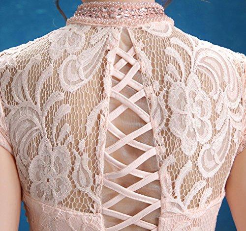 Beauty-Emily Lace Offene Seiten Hoch-Ansatz Nixe Ohne Arm Abendkleider Rosa