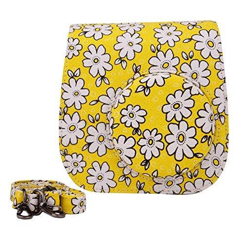 Sunmns lovely flower denim tessuto custodia per fotocamera con tracolla per fujifilm instax mini 8/9fotocamera istantanea, giallo