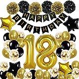 18. Geburtstag Dekoration Schwarzes Gold, 18. Geburtstags Deko Schwarzes Gold mit Happy Birthday Banner Folienballons konfetti Ballons Latexballons für Jungen Mädchen Party Dekoration