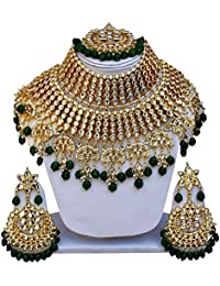 9ab0a7529915 Green Heavy Bridal Necklace Set Indian Wedding Jewellery Set Beautiful  Kundan Green Neacklace Trandy Jewelry For
