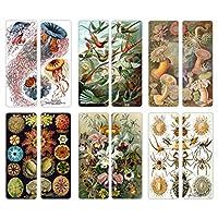 Creanoso Ernst Haeckel Unique Bookmarker Bulk (60-Pack) - Art Forms from Nature - Sea Creatures Botanical Birds Species - Premium Quality Sturdy Bookmarks
