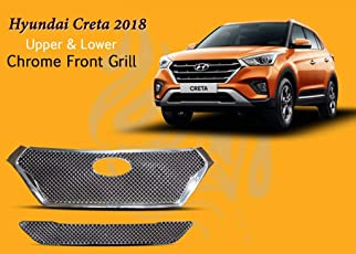 Auto Pearl - Premium Quality Car Upper and Lower Chrome Front Grill Bently Design For - Hyundai Creta 2018