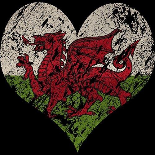Fashionalarm Herren T-Shirt - I Love Wales | Fun Shirt Trikot mit Vintage Flagge Print für Fußball & UK Fans | Urlaub Reise Herz Cymru Drache Schwarz