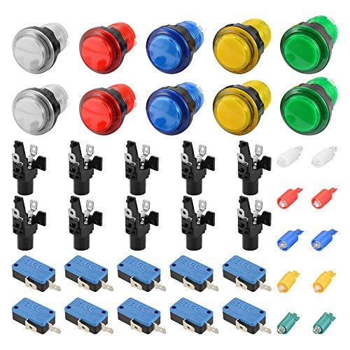Preisvergleich Produktbild XCSOURCE® 10Stk LED Licht beleuchtete Gaming Push Button mit Microswitch für Arcade Machine Spiele Mame Jamma Teile AC893