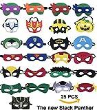 25 Superhelden-Party-Masken,Tmtt und Black Panther Cartoon Maske,Super Hero Geburtstag Partyzubehör,Superhelden Cosplay Maske für Kinder Oder Jungs über 3 Jahre Alt