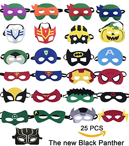 25 Superhelden-Party-Masken,Tmtt und Black Panther Cartoon Maske,Super Hero -