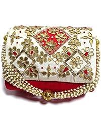 Arisha Kreation Co Clutch Potli Using Silk Fabric (Red And Golden)