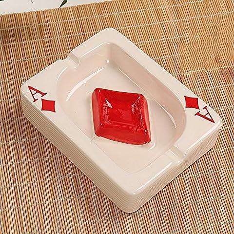 SKC LIGHTING Céramique Céramique Simple Créatif Moderne Personnalité Mini A Word Poker Fashion Salon Chinese Home Furnishings (L13.5CM * W10.5CM * H3.5CM) ( Couleur : #4 )