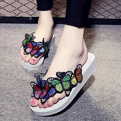 Estate Sandali 3.5CM femminile pantofole fatte a mano estate farfalla pistoni freddi antiscivolo scarpe da spiaggia casuale (dimensioni, colore facoltativo) Colore / formato facoltativo Bianca