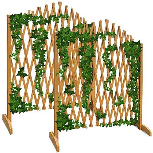 Deuba Gartenzaun Rankhilfe Rankgitter Holzzaun Pflanzengitter | 200 cm | zusammenfaltbar | variabel verstellbar | 2er Set