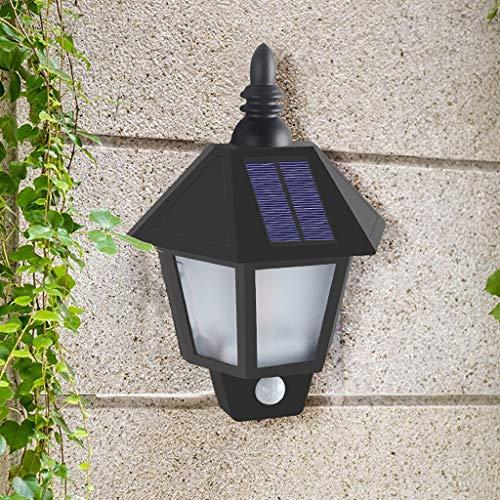 FENG Solar Wandleuchte,IP55 Wasserdichte Solarleuchte Wandleuchte Retro Hexagon Palast Hängelampen Wandleuchten für Hof und Garten (schwarz)