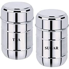 Kuber Industries 2 Pieces Stainless Steel Tea, Sugar Container Set, 500 Ml  Silver   CTKTC043168