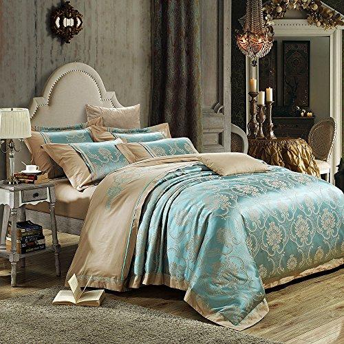 mixinni® Parure de Lit luxe Jacquard 2 personnes Housse de Couette + 2 Taies carrées bleu (240 x 260 cm, Bleu 2)