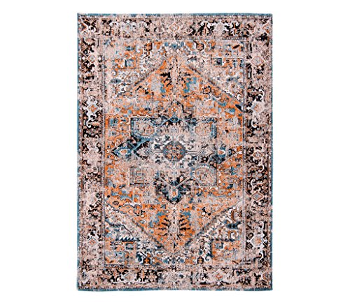 Louis de poortere tappeti designer antiquario heriz 8705seray arancione blu & ornage anticata in stile vintage sbiadito e area rugs, orange, 140x200cm - (4'7x'6'7)