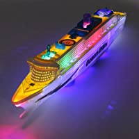 WIN86haib Decoration Parts Toys Ocean Liner Cruise Boat Electric Flashing LED Lights Sound Kids Children Toy