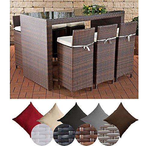 CLP Poly-Rattan Garten-Bar Set LENOX, Farbe wählbar, 6 Barhocker + 6 Sitzkissen + Bar-Tisch 167 x 81 cm, Höhe 113 cm braun-meliert