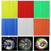 WENTS Reflector de Radios Bicicleta Spoke Reflector,Reflectante para Rueda de Alta Visibilidad Reflectores para Radios de Bicicleta,72Pcs 6 Colores