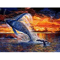 Diamond Mosaic Whale 5D DIY Embroidery Diamond Painting Animals Picture of Rhinestone Home Decoration Full Square Drill30 × 40Cm /15 × 11In
