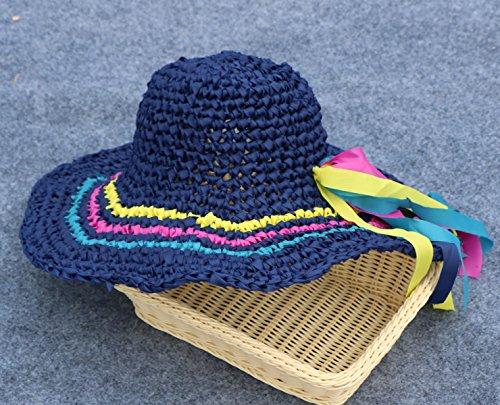 Crème Solaire Extérieure Grand Chapeau Brim Tisséà La Main Chapeau De Plage Lady Mask Cap A1