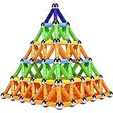 Veatree Blocs de Construction Magnétique 3D Jouet de Puzzle Jeux de Construction avec Bâtons Magnétique Colorés pour Les Fill