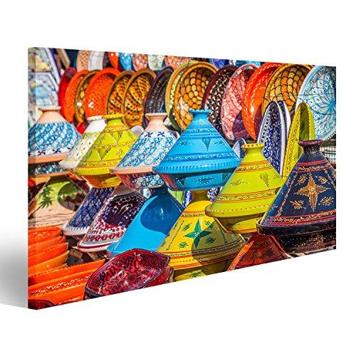 islandburner Tableau Tableaux sur Toile Tajines au marché, Marrakech, Maroc Images Impression Cadeau DKI