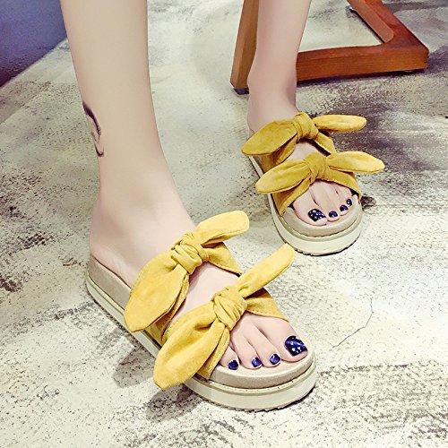 RUGAI-UE Soft sorella donne pantofole estate fondo spesso Bow carino indossare antiscivolo scarpe Pantofole Ginger