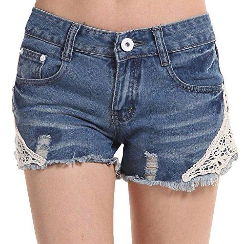 Minetom Donne Ragazze Moda Estate Pantaloncini Jeans Sexy Mini Pantaloncini Foro Jeans Pantaloni Con Floreale (Zebra Blu Trim)