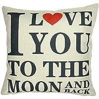 """Luxbon Funda de Cojín Almohada Regalos de San Valentín I LOVE YOU TO THE MOON AND BACK Decoración para Sofá Cama Coche 18x18"""" 45x45 cm"""