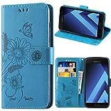 Galaxy A5 2017 Hülle, kazineer Samsung A5 2017 Handyhülle Leder Tasche Schutzhülle Blume Muster Etui für Samsung Galaxy A5 2017 Case (Türkis-blau)
