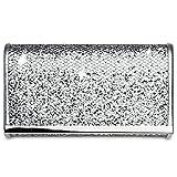CASPAR TA344 Damen kleine elegante Glitzer Clutch Tasche/Abendtasche mit Metallspange, Farbe:silber;Größe:One Size