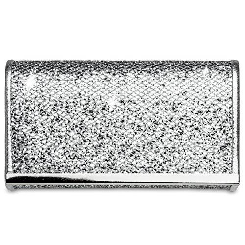 CASPAR TA344 Damen kleine elegante Glitzer Clutch Tasche / Abendtasche mit Metallspange, Farbe:silber;Größe:One Size (Snake-clutch-handtasche)
