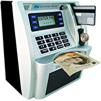 YaBao Pounds Version Electronic ATM Savings Bank Digital Piggy Money Bank Machine,Electronic Cash Box with Debit Card,Password Login,Voice Prompt,Coin Recognition,Targets Setting (Sliver/Black)