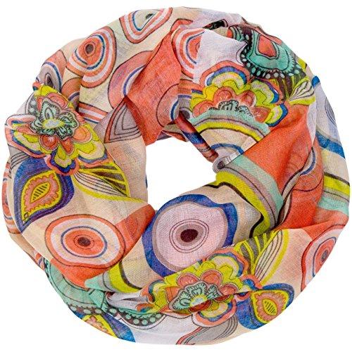 CASPAR - SC363 - Écharpe tube pour femme - Foulard - Châle avec fleurs colorés, cercles et points - plusieurs coloris