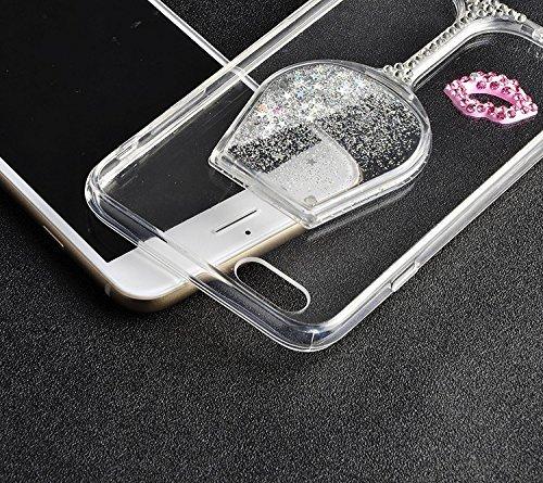 Coque Verre de Vin iPhone 6S Plus / 6S Plus Etui 3D Liquide Mouvant Coque de protection Housse Transparent,Créatif Désign verre de vin Hourglass Sablier TPU Coque avec Cramoisi Rouge Bling Glitter Spa Argent