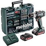 Metabo Batteri slagborr SB 18 L (2 batterier 2,0 Ah, 18 V, slagnyckel med väska omfattande tillbehörssats) 602317870, svart/g