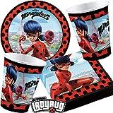 Procos/Carpeta 37-TLG. Party-Set * Miraculous Ladybug * mit Teller + Becher + Servietten | Superheld Marienkäfer Cat Noir Deko Kinder Geburtstag Motto Kindergeburtstag Mottoparty