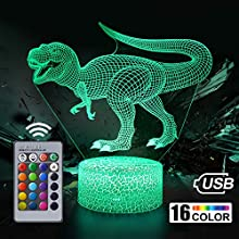 Dinosaur Night Light for Kids, Dinosaur Toy for Boys, 16 Color Changing 3D Optical Illusion Night Lamp, Table Desk Bedroom Decoration Birthday Gift for Children