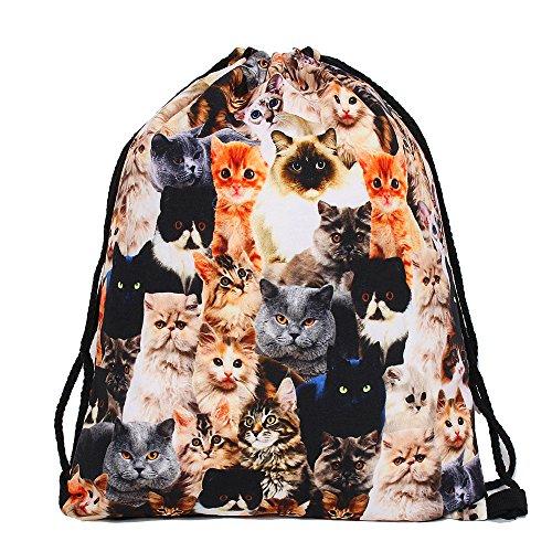 Leah 's Fashion® Doggy & Kitty Einhorn Kordelzug Rucksack String Bag 3D Sackpack für Kinder (39* 30cm), Katzendesign