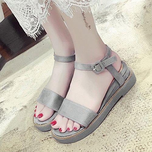 RUGAI-UE Estate Donna Sandali con suole spesse piatto Scarpe Casual semplice comode scarpe scamosciate Gray