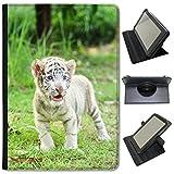Fancy A Snuggle Tigres Blancs Simili Cuir Folio Presenter Coque Sac avec Support de visionnage pour tablettes Archos Archos 101b Xenon 10.1 inch Baby White Tiger