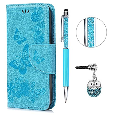 S5 Mini Hülle Leder Case,KASOS Handyhülle Brieftasche Book Type PU Leder +TPU Innere Tasche Bunt Gemalt Magnetverschluss Ledertasche Cover, Blau + Touch Pen + Stöpsel Staubschutz für Samsung Galaxy S5