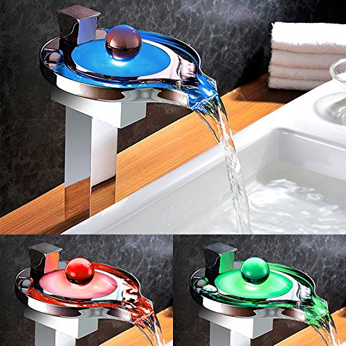 Homelody - Hohe Wasserfall-Waschtischarmatur, Einhebel, LED-Beleuchtung, Verbrühschutz, Chrom