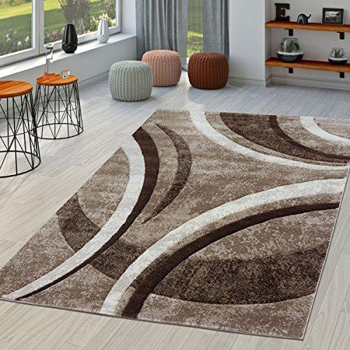 Tappeto per soggiorno, a righe, Moderno con orlo esterno cucito, in marrone, beige e crema, Polipropilene, marrone, 160 x 230 cm